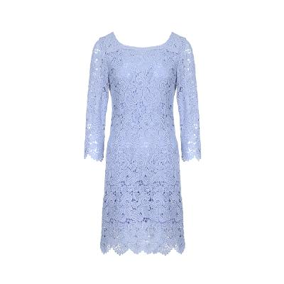 u-neck lace dress purple